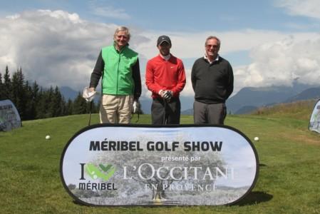 Reinold Geiger président de l'Occitane en Provence, partenaire fidèle de la compétition (à gauche), Jean-François Lucquin (au centre) et Didier Audin, l'initiateur du Méribel Golf Show lors de l'édition 2013.  Photo D. Roudy