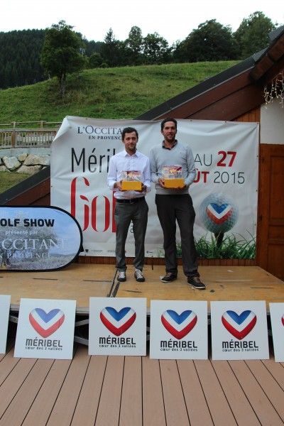 Jean-François Lucquin et respectivement 1er et 2è du Pro-Am International Méribel Golf Show , catégorie Pros - Photo A. Prost / golf Rhône-Alpes Magazine