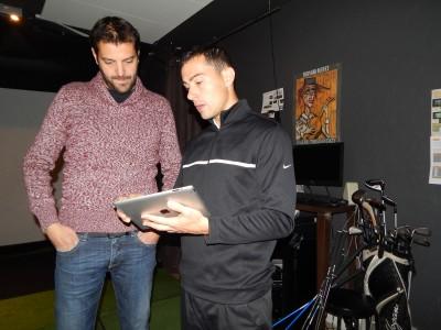 Eric  Chaudouet (à gauche) en compagnie du Lyonnais Bruno Veiga représentant  chez Trackman de l'Europe du sud et de l'ouest - Photo DR